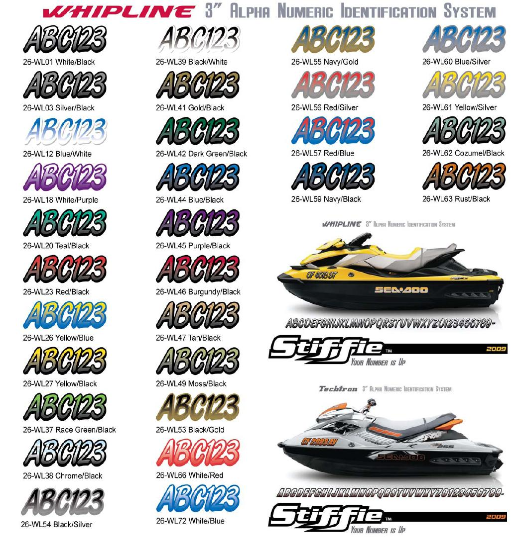 stiffie whipline boat jet ski 3 registration numbers l With jet ski letters and numbers